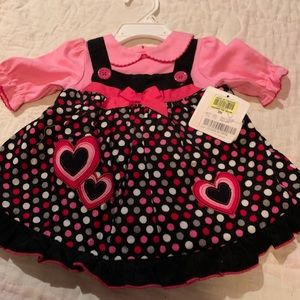 Other - NWT - Pink and black polka dot dress